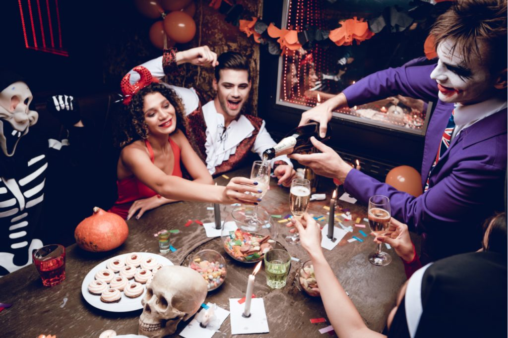 A Halloween party where healthy Halloween snacks is served on the table.