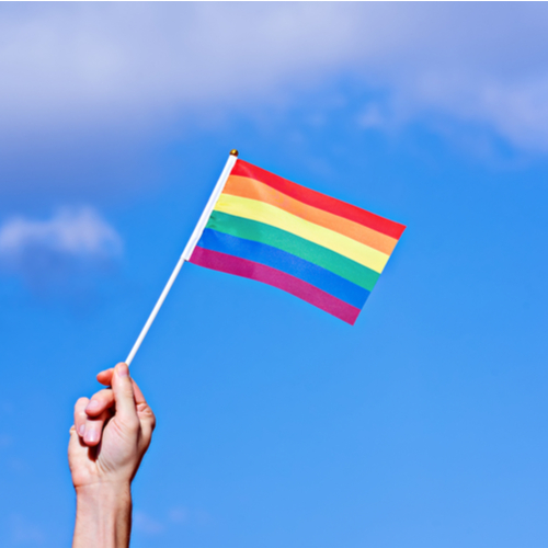 Raised hand waiving LGBTQ rainbow flag.