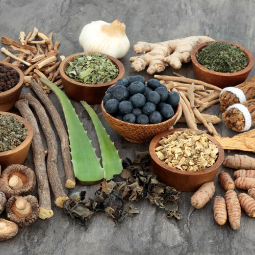 Adaptogen food selection with herbs, spice, fruit and supplement powders.
