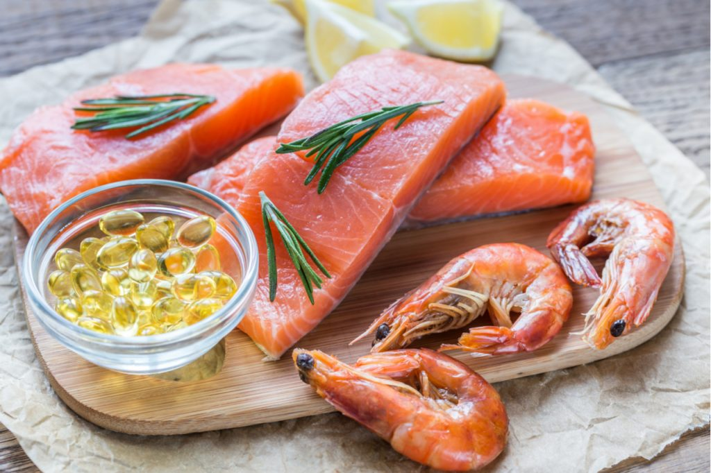 Sources of Omega-3 acid on a plate.
