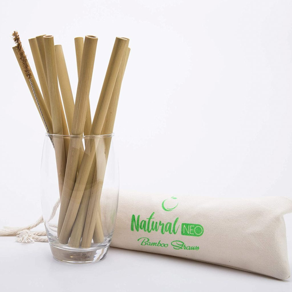 """NATURAL NEO Organic Bamboo Straws Reusable with Coconut Fiber Brush 20cm 8"""" Drinking Straw Biodegradable Kids Adults 