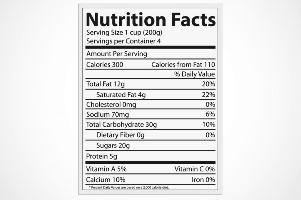 Illustration of a nutrition food label isolated on a white background.