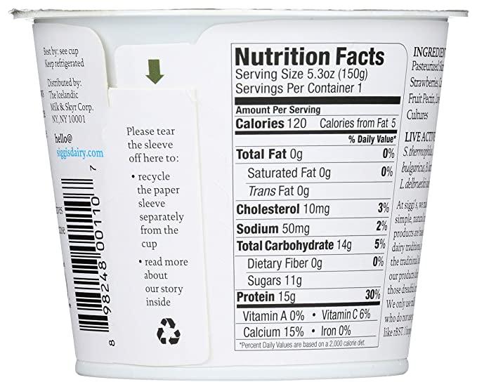 Siggi's, Skyr Icelandic Style Strained Non-Fat Yogurt Strawberry, 5.3 Oz nutrition facts.