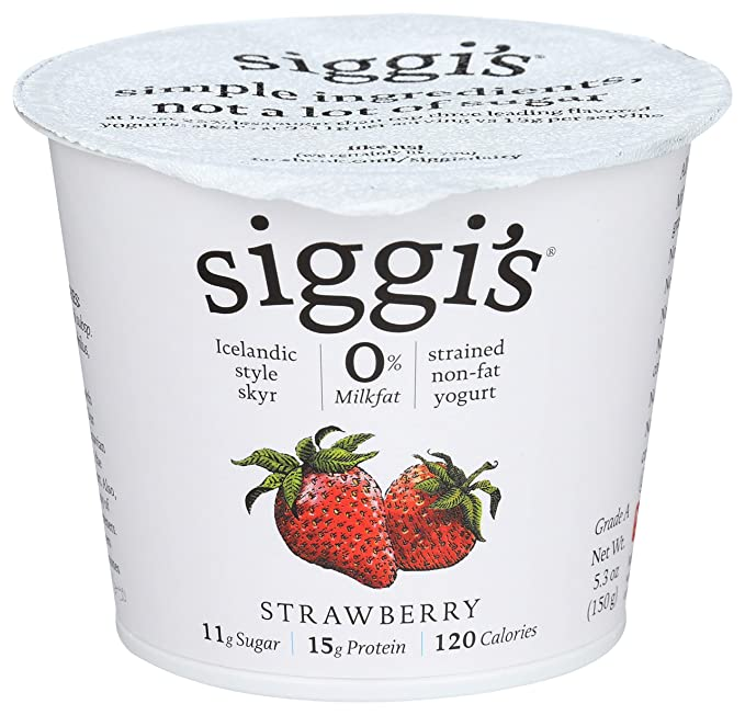 Siggi's, Skyr Icelandic Style Strained Non-Fat Yogurt Strawberry, 5.3 Oz