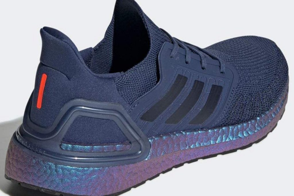 A close up of the Adidas Ultraboost 20 in Boost Blue Violet Metallic Colorway.