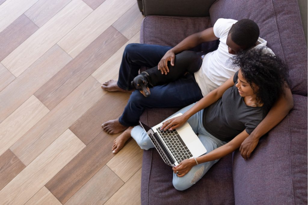 One of the steps on how to maintain a healthy relationship is enjoying time at home using computer sitting on sofa with pet while working.