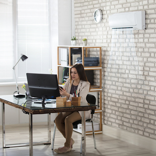 Young Businesswoman Working In Office With Air Conditioning