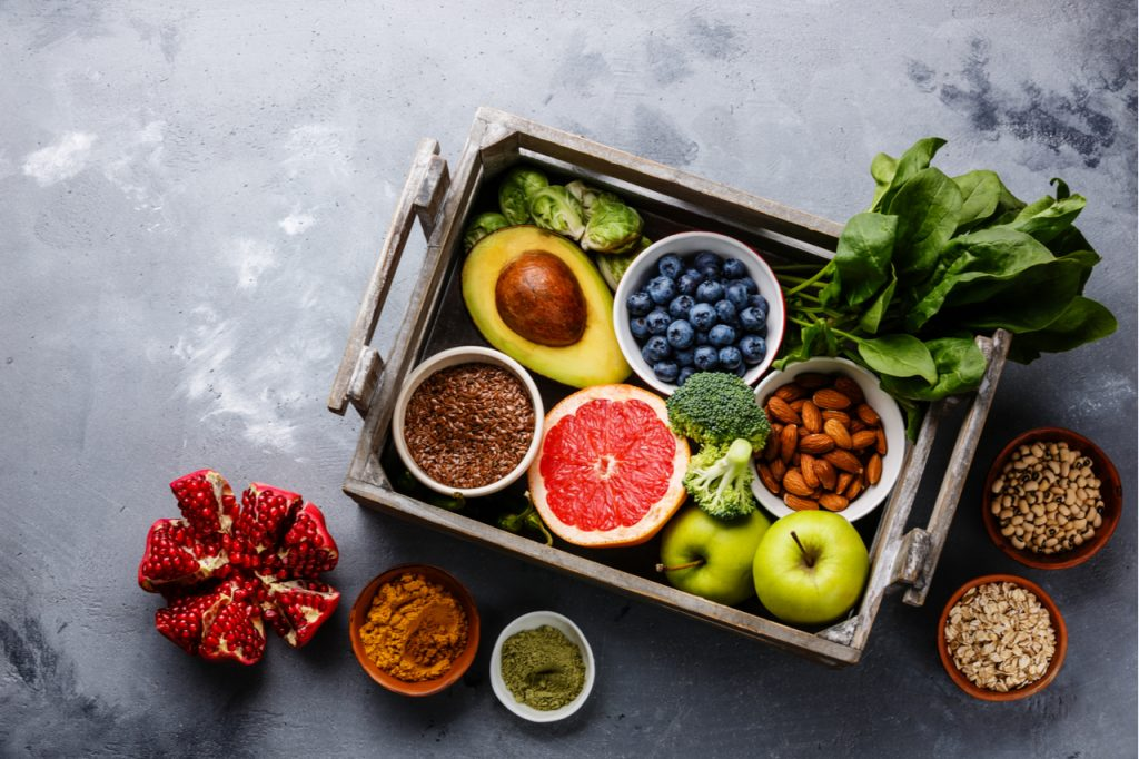 Selection of antioxidant food in a box.
