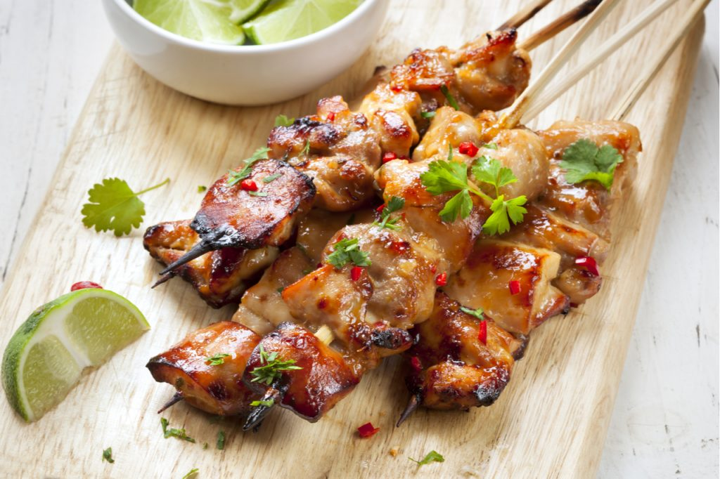 Satay chicken skewers with lime and chili for that Labor Day Weekend.