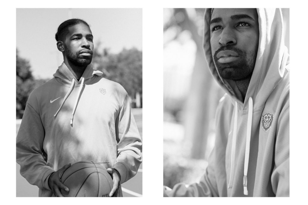 Grayscale image of Pro basketball player Jeff Coby.