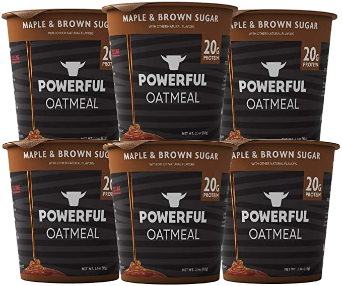 Powerful Instant Oatmeal Cup, High Protein, Whole Grain, Kosher, Natural Ingredients, 20g Protein, Maple & Brown Sugar, 6 Pack