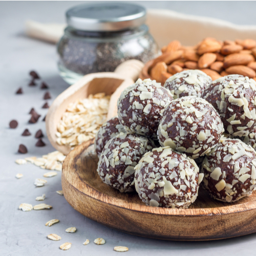 Protein balls in a bowl.