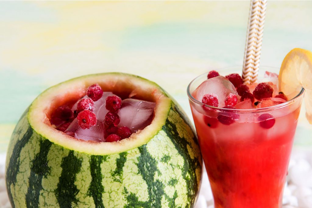 Cocktail in a watermelon