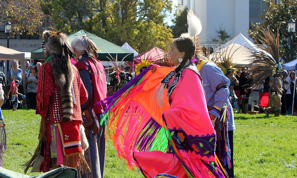 Several native americans celebrating Indigenous Peoples' Day.