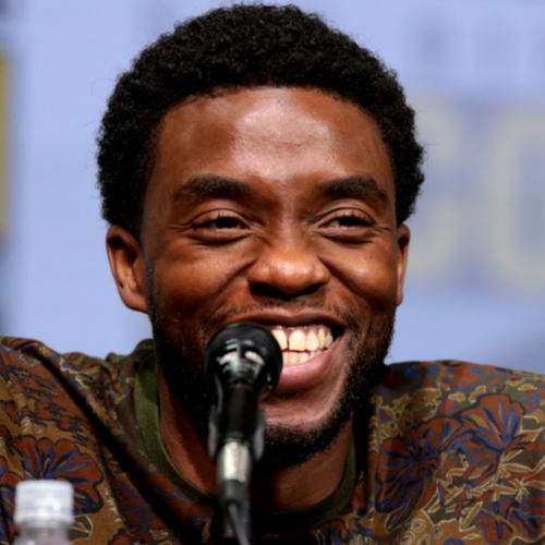 Chadwick Boseman speaking at the 2017 San Diego Comic Con International with a big smile on his face.