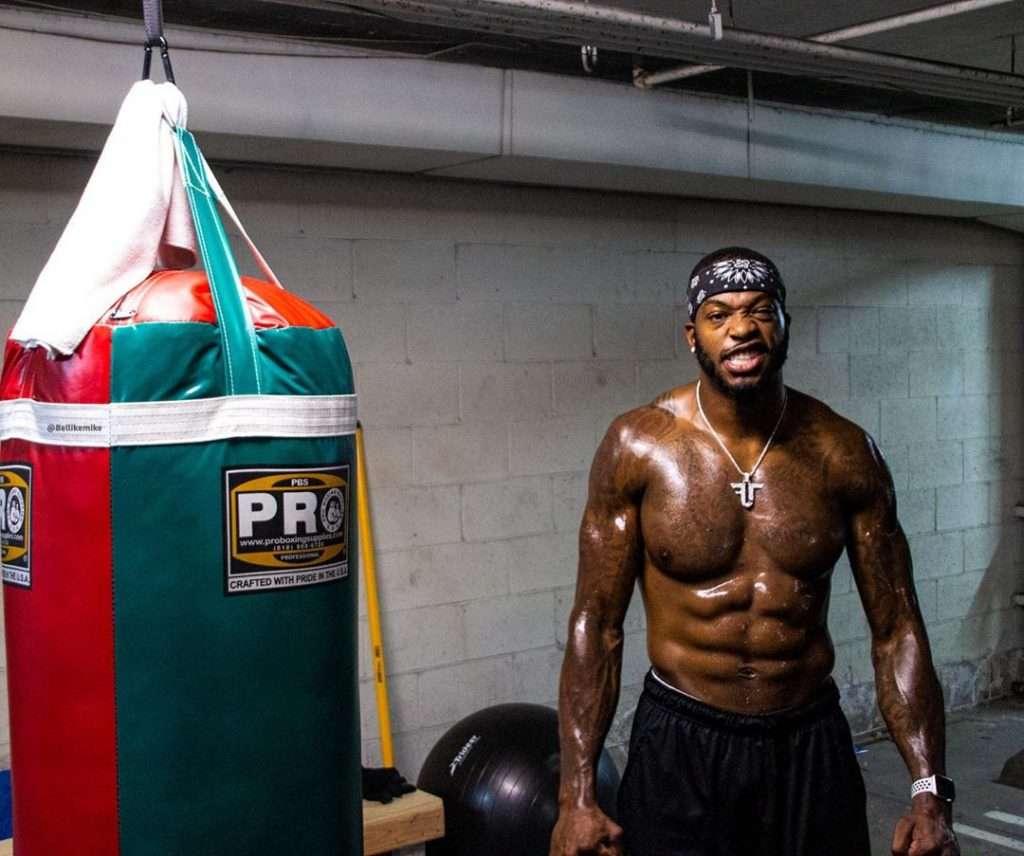 CJ Hammond looking all sweaty after his boxing workout.