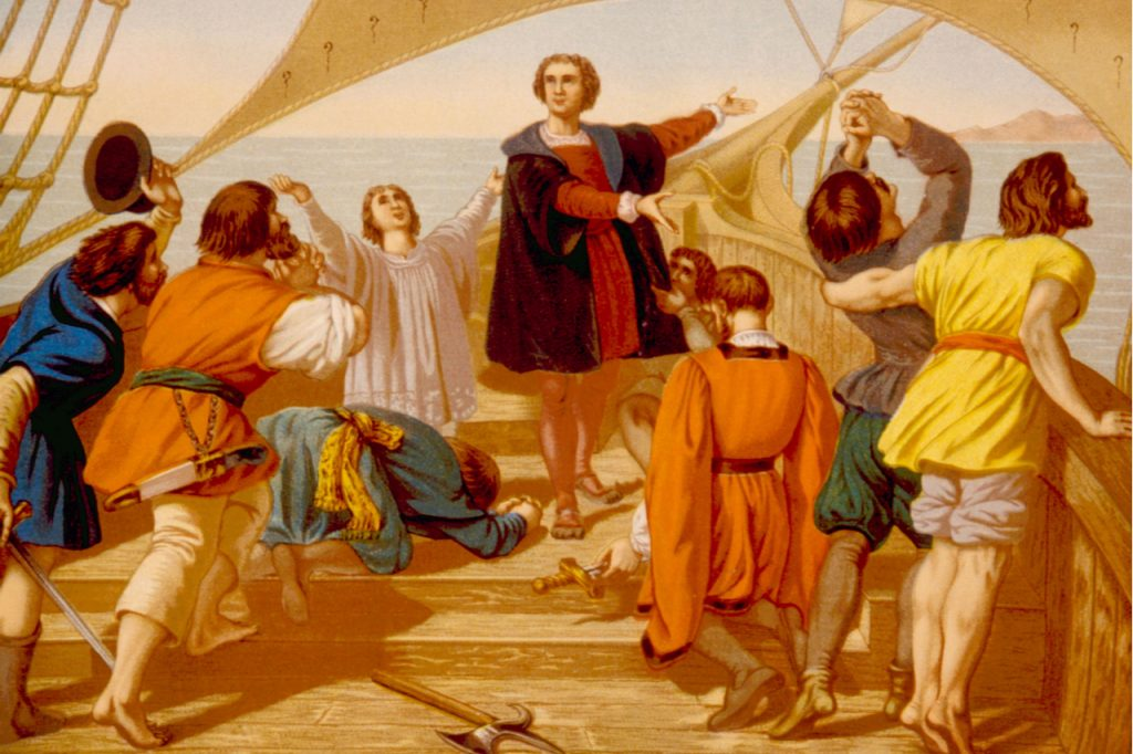 Christopher Columbus on his boat with his crew he was with during his exploration. What is Columbus Day?