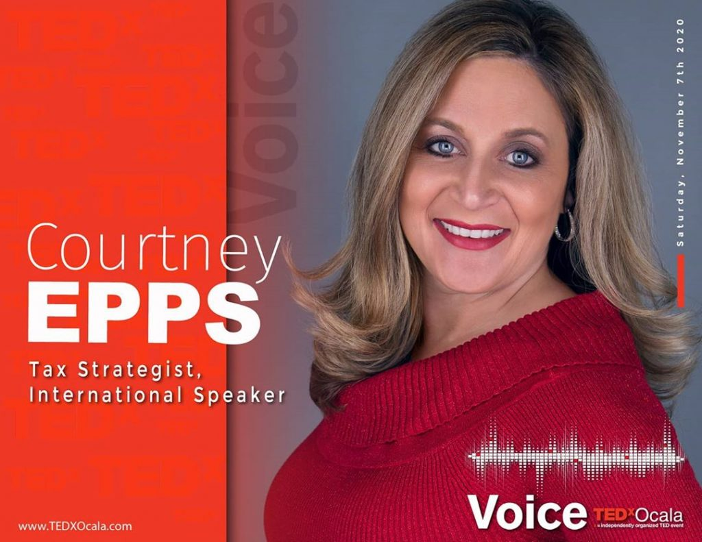 Courtney Epps poster for TEDxOcala  as an international speaker.