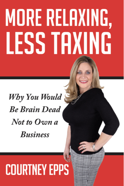 Book cover titled 'More Relaxing, Less Taxing' by Courtney Epps