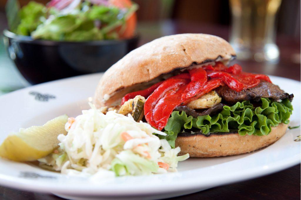 Grilled portobello mushroom as a healthy vegan burger option.