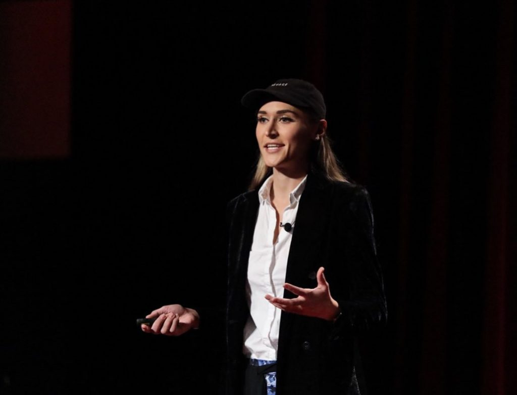 An image of Nadia Masri when she gave her first tedx talk at the Rutgers University.
