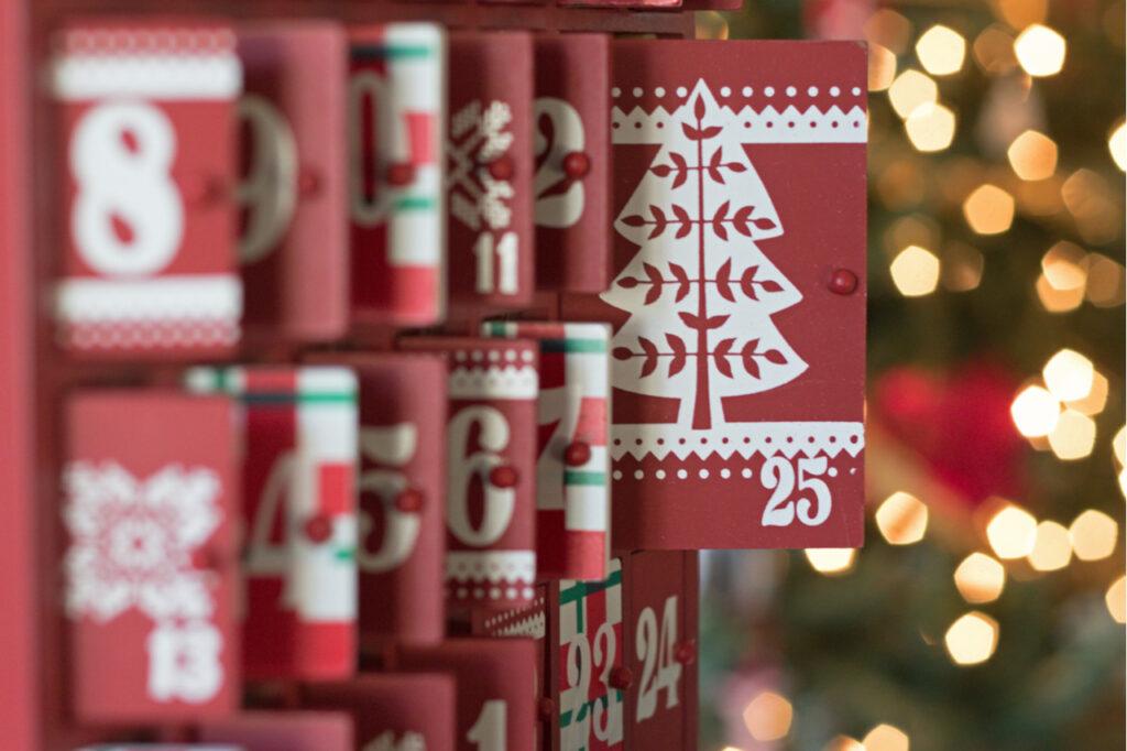 Photograph of a Wooden Advent Calendar