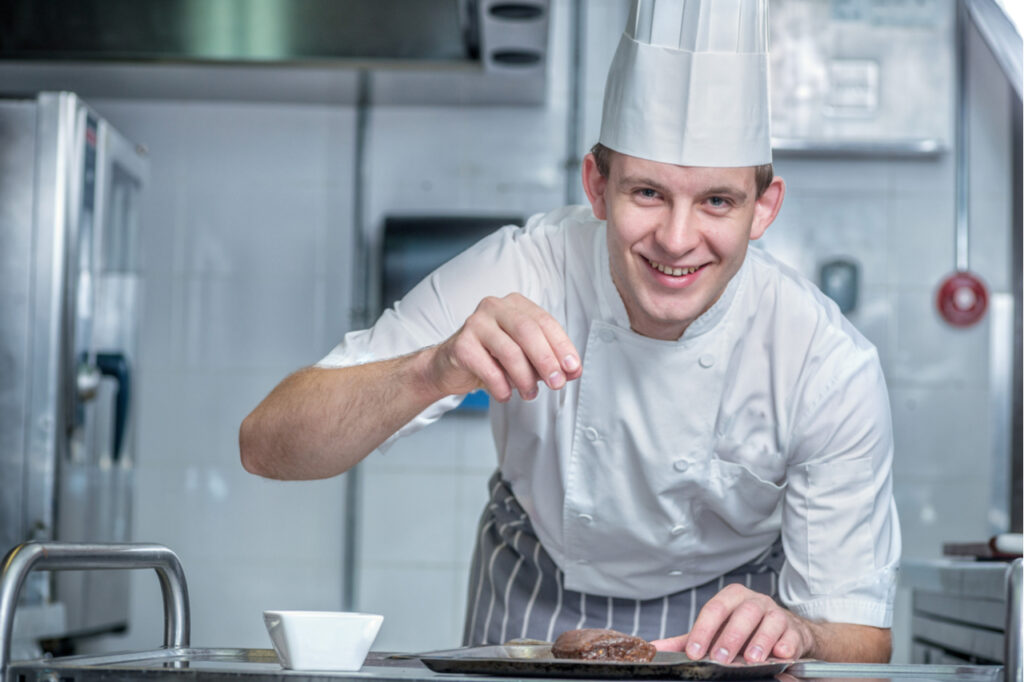 Confident chef adds spice to the meat which was called deviling that was later on used as the name of a low cholesterol deviled egg recipe.