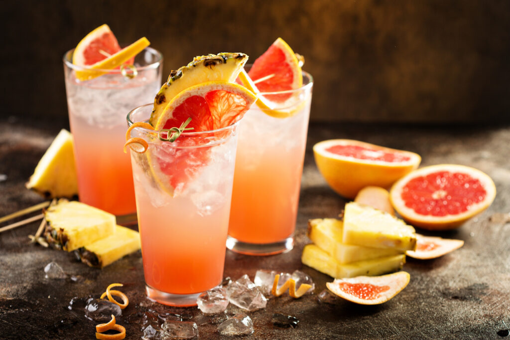 Grapefruit and Pineapple are good ingredients for a mocktail recipe.