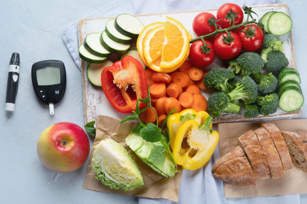 Low glycemic healthy foods for diabetic diet.