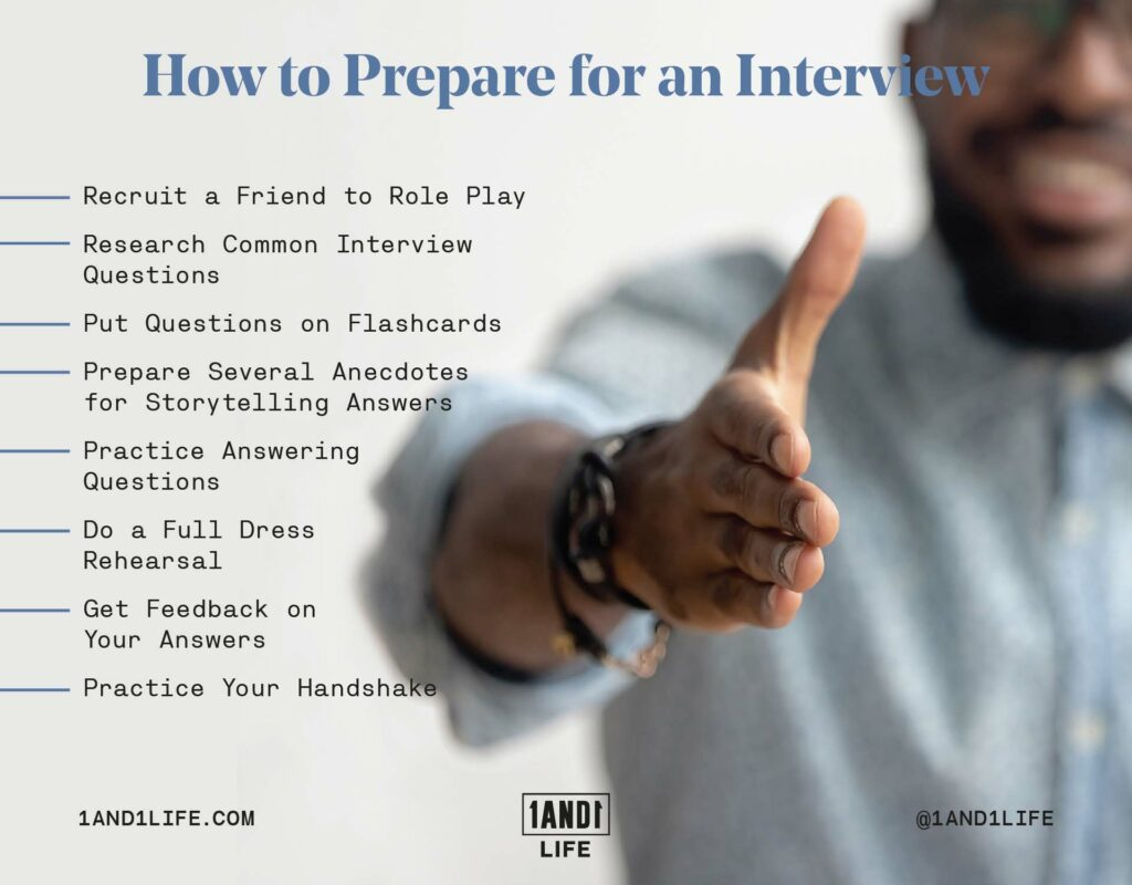 A list of tips on how to prepare for a job interview.