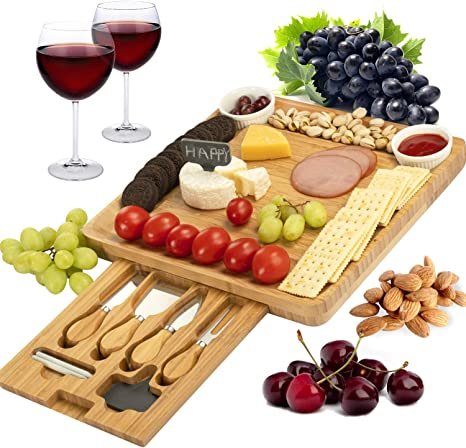 CTFT Cheese Board and Knife Set Bamboo Charcuterie Platter Serving Tray Gifts for Housewarming, Wedding, Thanksgiving, Wine, Crackers and Meat