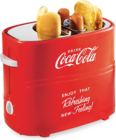 Nostalgia Coca-Cola Pop-Up 2 Hot Dog and Bun Toaster, With Mini Tongs, Works With Chicken, Turkey, Veggie Links, Sausages and Brats, HDT600COKE, Red