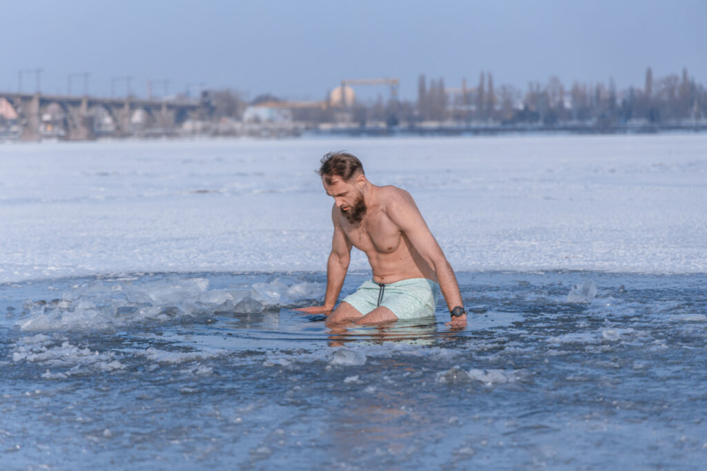 Swimming in the ice.