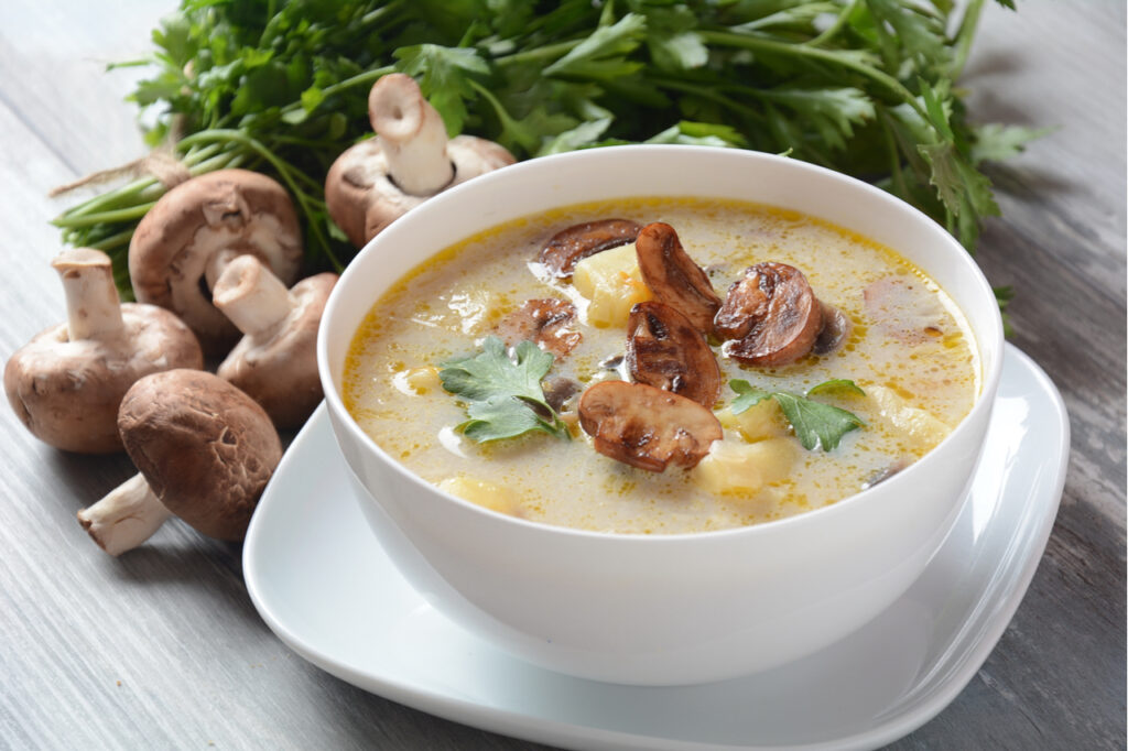 Delicious soup with mushrooms champignon and potato.