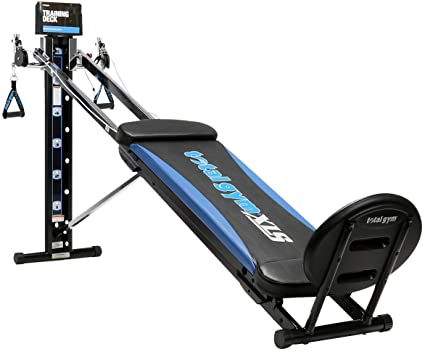 Total Gym XLS Men/Women Universal Total Body Training Home Gym Workout Machine with Squat Stand, Leg Pull, 2 Ankle Cuffs, and Exercise Chart