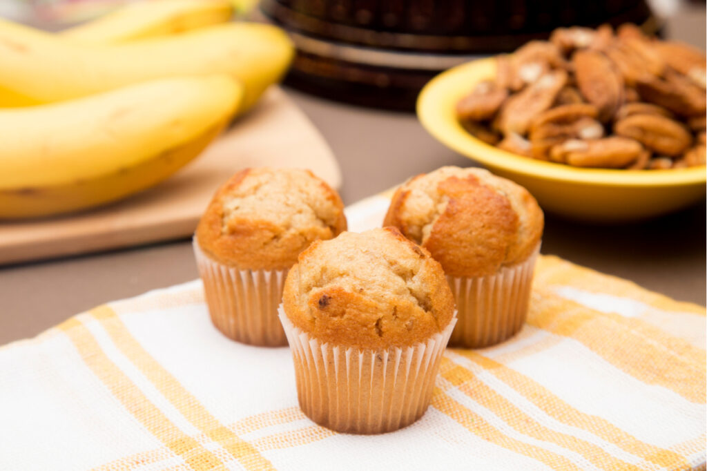 Banana protein muffins for healthy snacking.