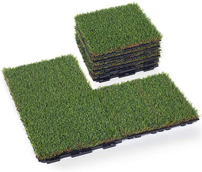 Golden Moon Artificial Grass Turf Tile with Upgrade Interlocking System Home Gym Flooring