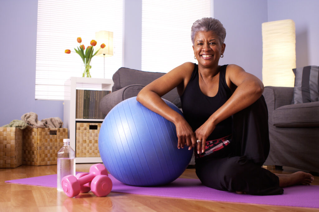 A grandmother happy after working out.