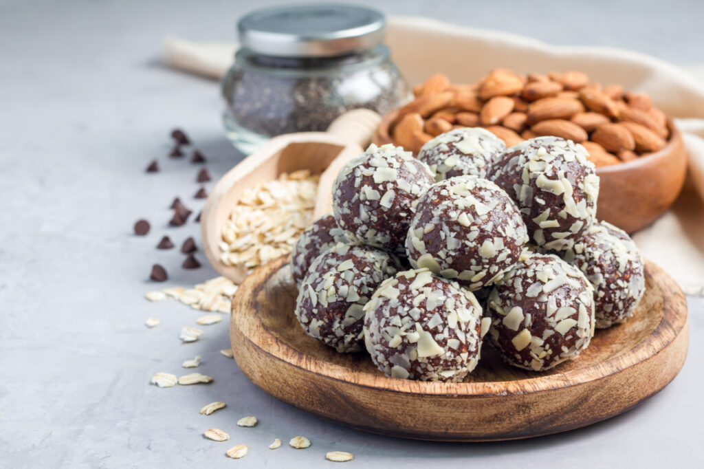 Homemade chocolate protein balls with rolled oats.