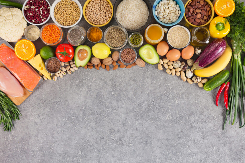 Assortment of eco products rich in microbiotic diet.