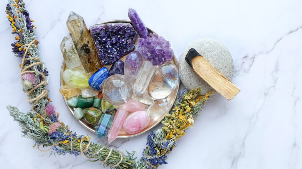 Chakra gemstones crystals, palo santo, floral cleansing bundles, nature magic things. Witchcraft Ritual, energy healing minerals. flat lay