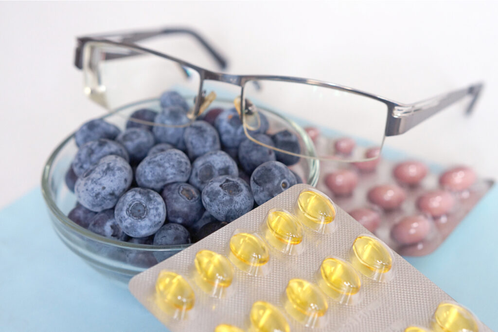 Vitamins and supplements from blueberries. Pharmaceutical care healthy vision.