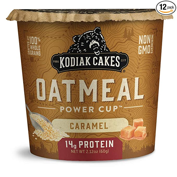 Kodiak Cakes Instant Protein Caramel Oatmeal in a Cup (Pack of 12)