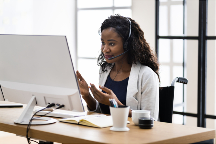 Virtual personal assistant woman making video conference call.