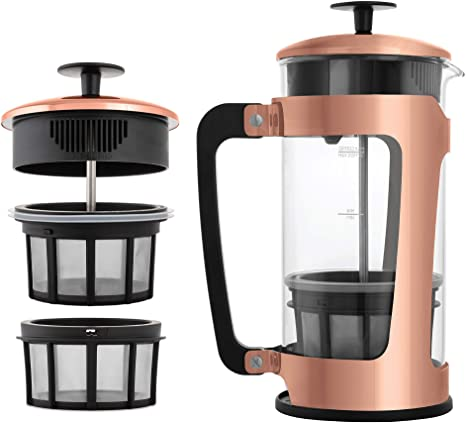 ESPRO P5 Double Micro-Filtered Coffee French Press, 32 Ounce, Polished Copper Finish