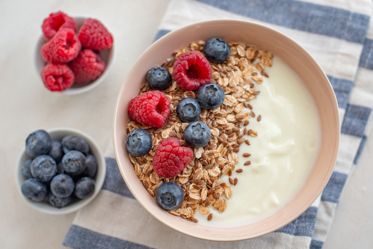 Granola with yogurt and berries for healthy breakfast