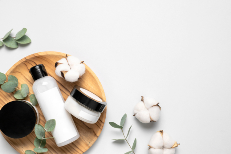 Cosmetic containers with cream and lotion, cotton flowers, eucalyptus leaves.
