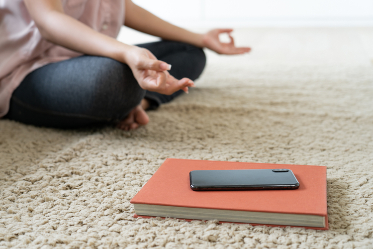 Yoga meditation and turn off mobile phone and disconnect internet.