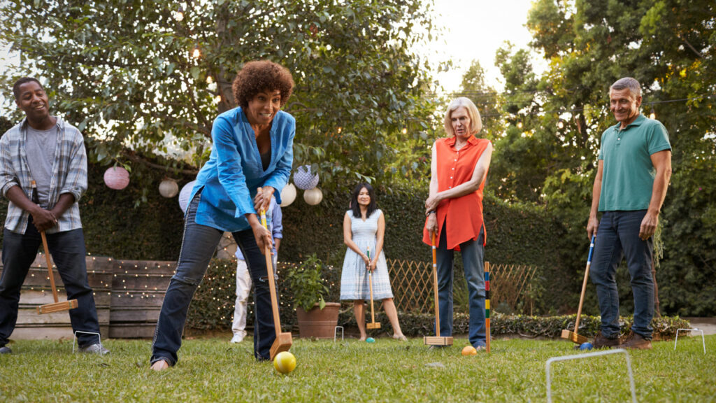 Families playing croquet on July 4th
