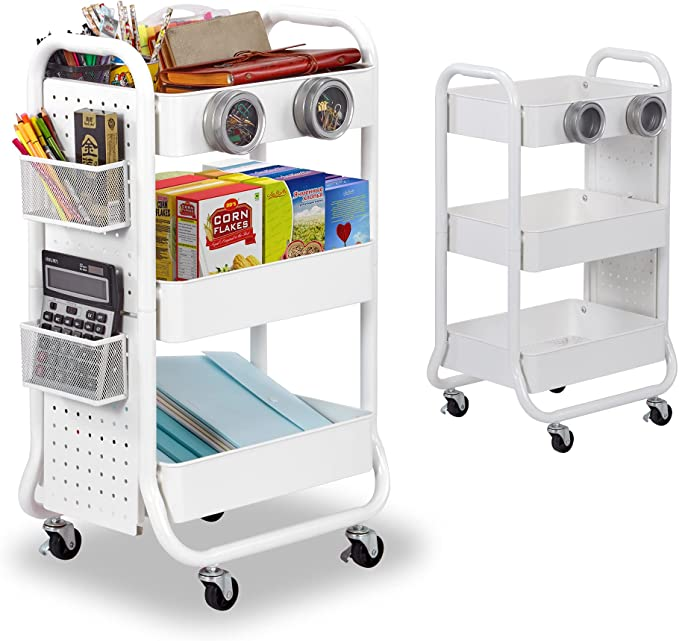 DESIGNA 3-Tier Rolling Cart, Utility Cart with Handle, Extra 3 Storage Accessories, Removable Pegboard, Easy Assembly Craft Carts for Kitchen, Bathroom, Office, Metal, White